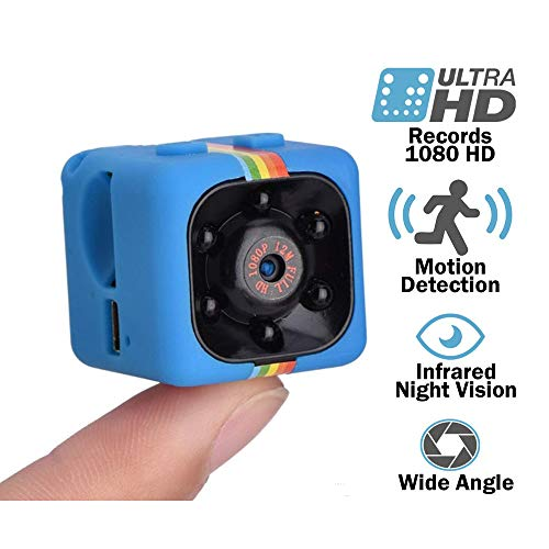 Jumedy Mini Color HD Infrared Light Night Vision Camera with Memory Card 1080P Aerial Motion DV Camera, Home Cam (Color : Blue)