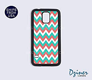 Galaxy S5 Heavy Duty Tough Case Cover - Coral Green White Chevron