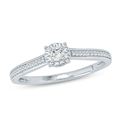 Tesero Mio 10K White Gold 1/6 Carat Round Cut (I-J Color, I2-I3 Clarity) Natural Diamond Promise Ring for Her, US Size 8