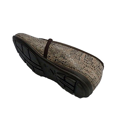 Femme chaussures en caoutchouc estampage sur empeigne en tissu Alberola en bronzage