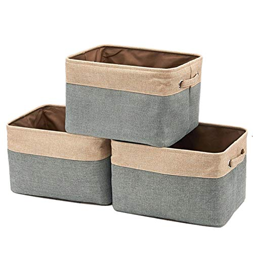 Tosnail 3 Pieces Foldable Storage Bin Basket with Handles - Great for Home, Office, Closet - Gray ()