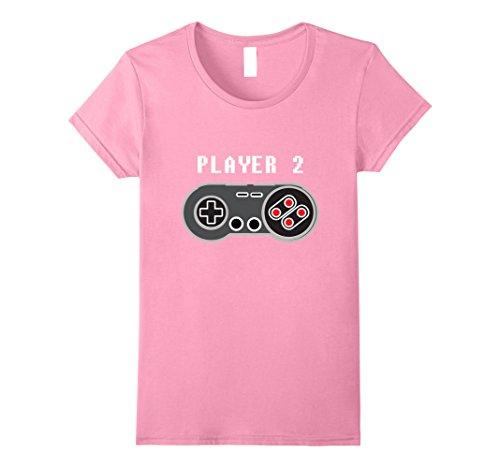 Womens Player 2 Retro Video Game Controller T-Shirt Medium Pink