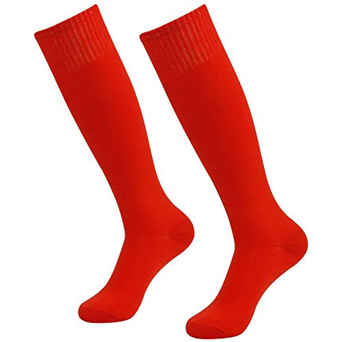 Red Long Tube Soccer Socks,Three street Unisex Youth Breathable Sport Cushion Over-Knee Length Comfort Compression Football Volleyball School Game Socks Red 2-Pairs