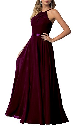 Beauty Bridal 2018 Long Prom Dresses For Women Lace Up Backless Bridesmaid Evening Party Gowns With Pockets J54 (16,Burgundy)