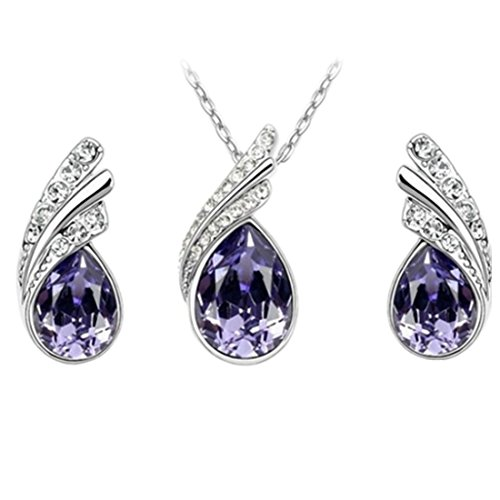 Angel Tear Drop Austrian Crystal Pendant Necklace & Earring Set | Fashion Accessories | Womens Jewelry, Pendant Earrings & Pendant Necklace | Earrings Gift For Girls Women Austrian Crystal Angel Necklace