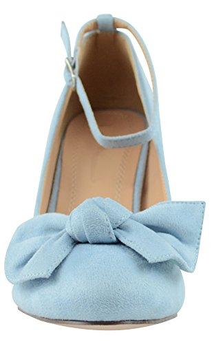 Cambridge Select Womens Closed Almond Toe Buckled Ankle Strap Bow Mid Heel Pump Light Blue Imsu 1m2YpTO