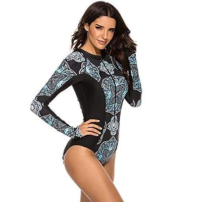 Yateen Womens Athletic Training Swimsuit Long Sleeve Rashguard: Clothing