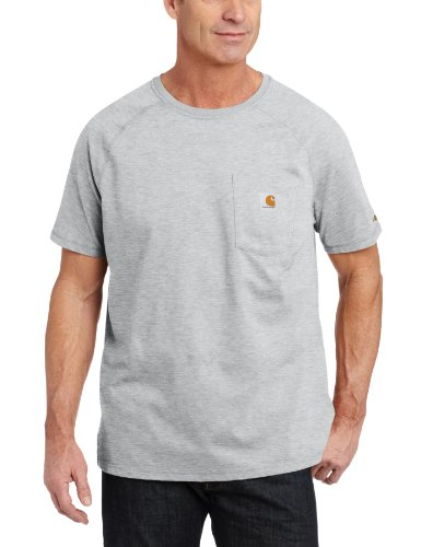 Carhartt Men's Force Cotton Delmont Short Sleeve T-Shirt (Regular and Big & Tall Sizes), Heather Gray, Large - Work Carhartt Dry