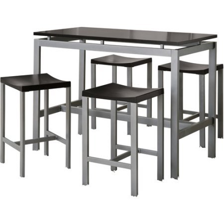 Coaster 5-Piece Counter Height Table and Chair Set, Multiple Colors (GREY/BLACK)