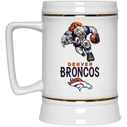 (Denver Broncos Beer Mug Broncos Player Mascot Beer Stein 22 oz White Ceramic Beer Cup NFL AFC Perfect Unique Gift for any Denver Broncos Fan)