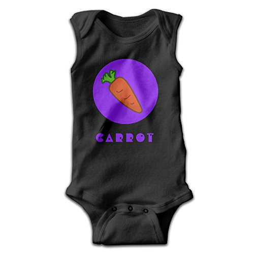 YiYa Infants Boy's & Girl's Carrot Short Sleeve Jumpsuit Outfits For 0-24 Months Black 18 Months