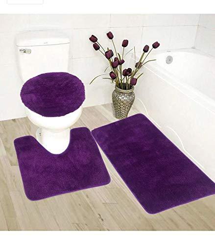 3 pc Bathroom Rug Set Bath Mats Angela Solid Dark Purple Color Anti Slip Soft Mats New