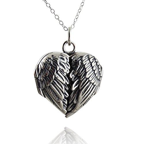 FashionJunkie4Life Sterling Silver Angel Wings Heart Locket Necklace, 18