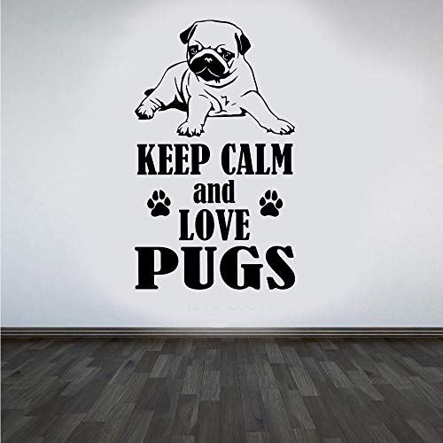 Cenrial Wall Decal Sticker Art Mural Home Decor Quote Pug Dog Keep Calm and Love Pugs DIY Wall Sticker Animal Cute Pet Home Decor