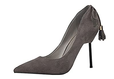 Ryse Women's Fashionable Sweety Bowknot Suede Temperament Thin High Heels Pointy Shoes