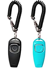 HoAoOo Pet Training Clicker Whistle with Wrist Strap - Dog Training Clickers (Black + Blue)