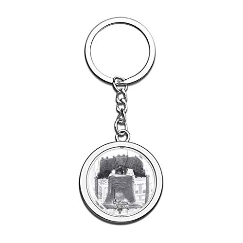 USA Liberty Bell Memorial Museum Melbourne Sketch Keychain 3D Crystal Spinning Round Stainless Steel Keychains Travel City Souvenirs Key Chain Ring