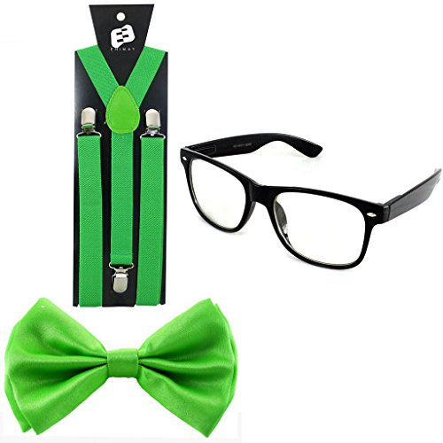 Enimay Suspender Bowtie Nerd Clear Glasses Nerd Costume Halloween (Green) (Bow Glasses With)