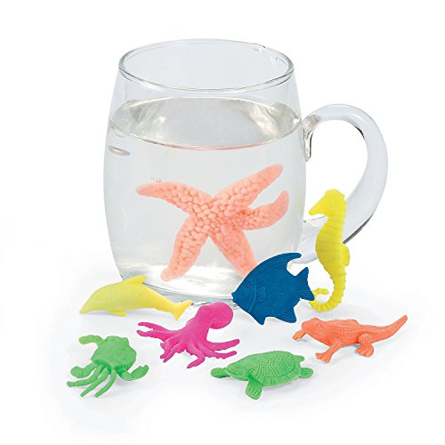 - Kicko Growing Animals Sea Life - Pack of 12 Creatures Figures, 1.25 to 2 Inches, Assorted Colored Animals - Grows Like Magic in Water - Fun Toy for Kids Boys and Girls, Party Favor, Gift, Prize