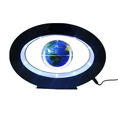 3.5'' Magnetic Rotating Globe with LED Light Levitation Floating Globe World 360 Rotating Globe Desktop Home Office Decorative Globe Elliptical Base Display Stand,Blue