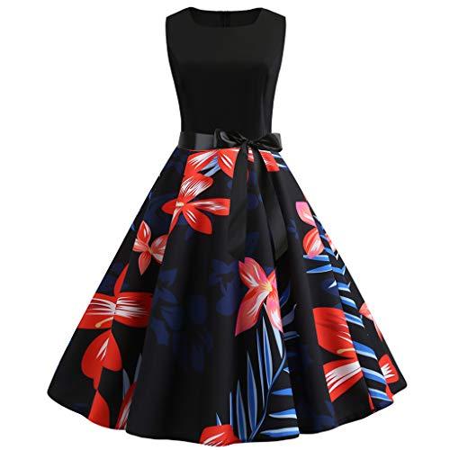 (JESPER Women Vintage Tartan 1950s Retro Sleeveless O Neck Print Evening Party Prom Dress Red)
