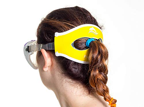Poni-tamer Comfortable Neoprene mask Strap Cover for Scuba, Snorkeling & Swim Masks. Perfect for Pony Tails or w/o Keeps Your mask in Place. for Adult and Kids Mask Sizes. Stops Tangled Hair (Yellow)