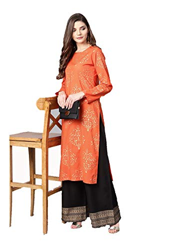 Women Orange & Black Printed Kurta with Palazzos Full Set Dream Angel Fashion (Small-34)