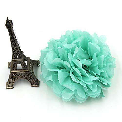 5PCS 6inch(15CM) Multi Colors Paper Pom Poms Handmade Paper Flower Ball Pompom Home Kids Birthday&Wedding Car Decoration (Tiffany Blue)