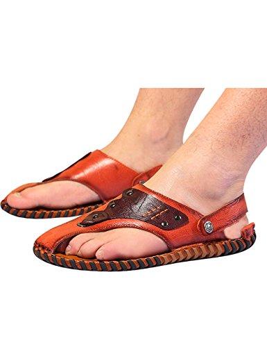 Sandali Da Spiaggia In Pelle Flip Flop Uomo Estate Zoulee Rosso Marrone
