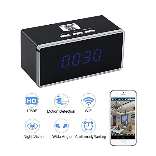 WiFi Spy Camera Clock HD 1080P TANGMI Nanny Cam P2P Wireless Security Camcorder Motion Detection Video Surveillance Recorder 140?Wide View Angle iOS Android APP Remote Control (Without Card)