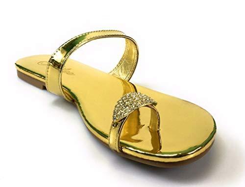 (Liliana Women's Rhinestones Toe Ring Summer Flat Sandals by Jubilee Style Alyson-06a (8, Gold))