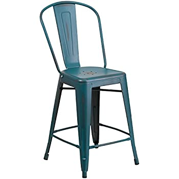 Flash Furniture 24u0027u0027 High Distressed Kelly Blue Teal Metal Indoor Outdoor  Counter