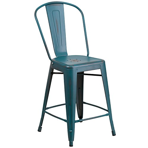 "Cheap Flash Furniture 24"" High Distressed Kelly Blue-Teal Metal Indoor-Outdoor Counter Height Stool with Back"