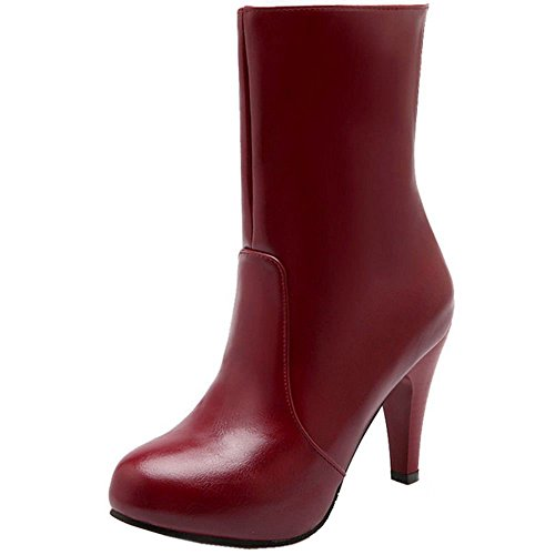 COOLCEPT Women Fashion Party Boots Platform Stiletto High Heels Winter Shoes Red