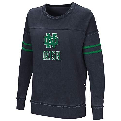 Colosseum Women's NCAA-Home Game-Fleece Retro Pullover Sweatshirt-Notre Dame Fighting Irish-Navy-Small