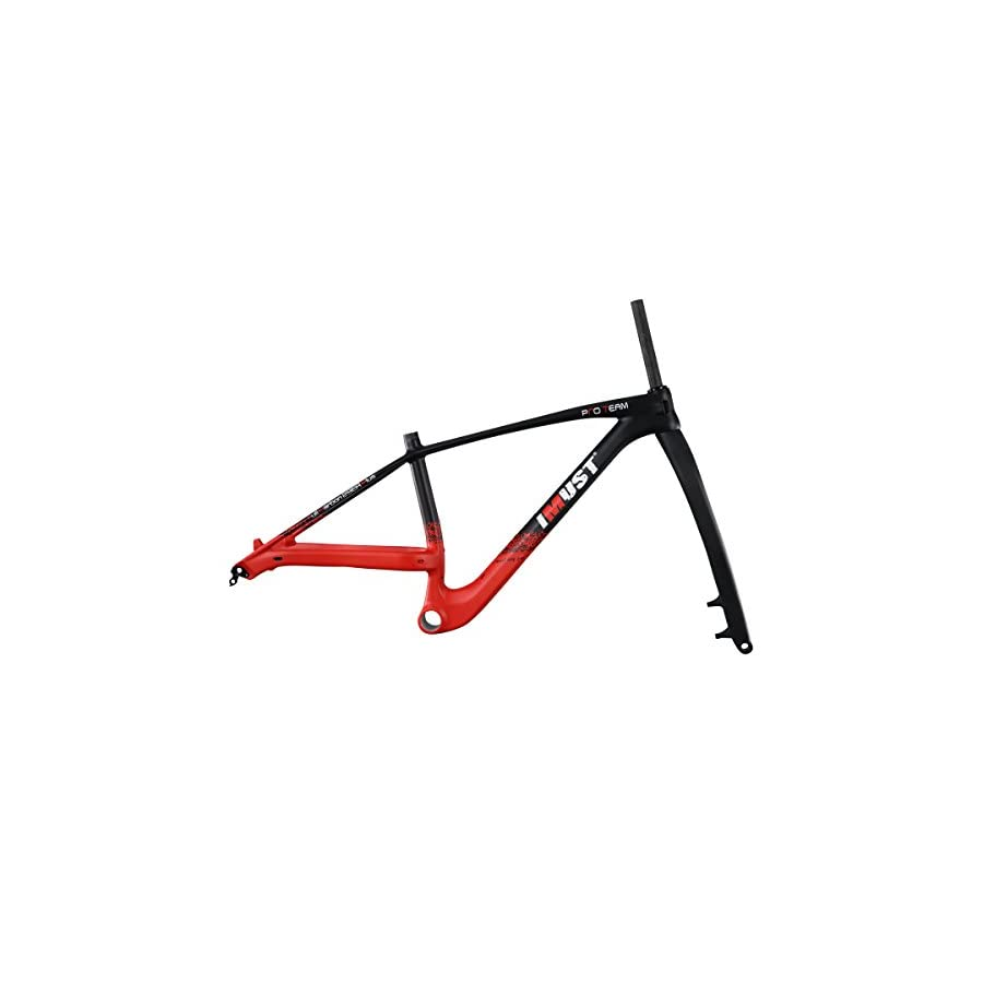 IMUST 29er Plus Mountain Bicycle Frame with Fork Carbon Boost Hub 148¡Á12mm 110¡Á15mm PF30 Red