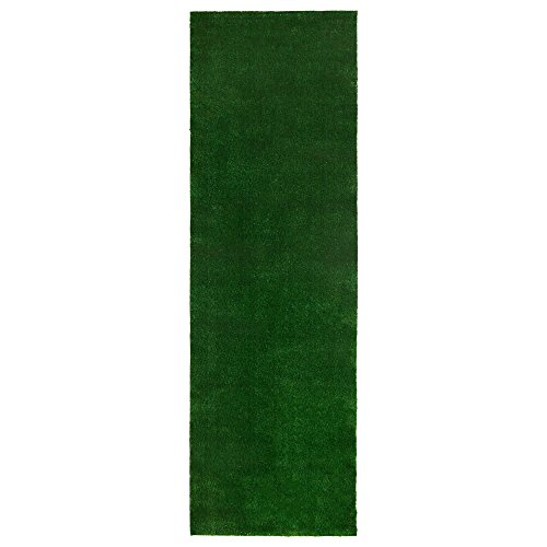 Ottomanson Evergreen Collection Indoor/Outdoor Green Artificial Grass Turf Solid Design Runner Rug