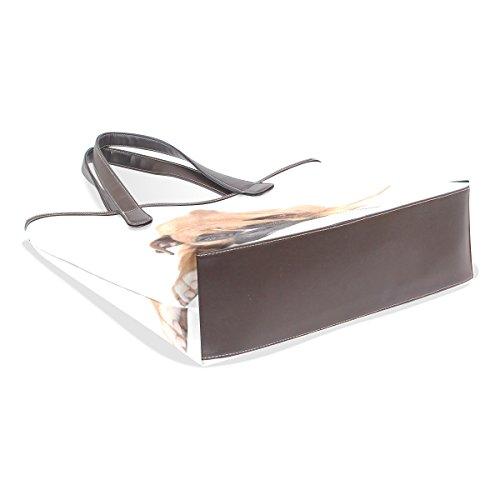 Coosun Damen Einzigartiges Design Schöne Boxer Hund Pu Leder Große Einkaufstasche Griff Schultertasche Einkaufstaschen Casual Bags Handtasche für Mädchen