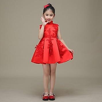 RENQINGLIN Kinder Kleid Rot Kleid Mädchen Kleid Prinzessin Kleid ...