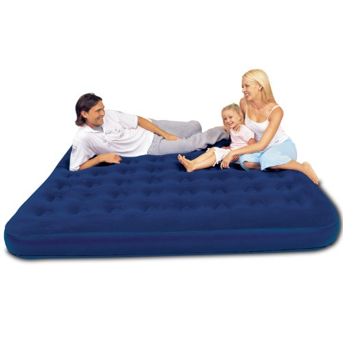 Comfort Quest Flocked Airbed - King Size, Blue by Comfort