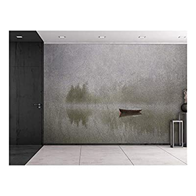 Made With Top Quality, Majestic Piece of Art, Reflection of a Lone Boat Floating on a Lake Wall Mural