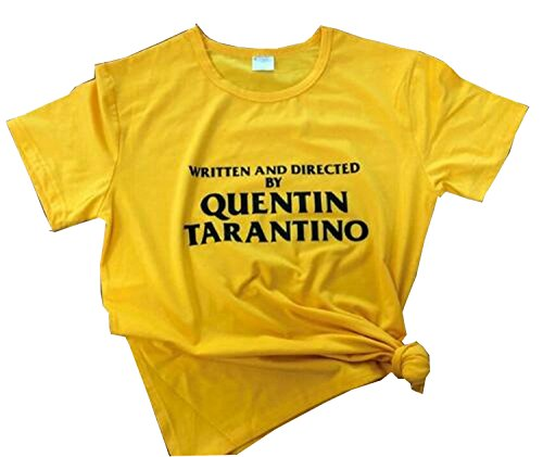 Futopion Women's Graphic Tshirts Written and Directed by Quentin Tarantino Printed Tops S Golden