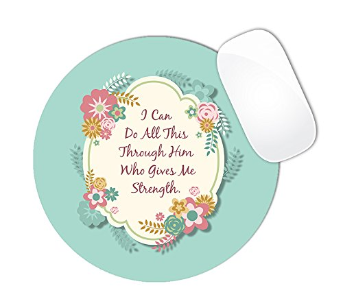 Philippians 4:13 Bible Verse with Mint Color Background and Floral Center Mouse Pad (ROUND)