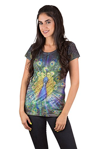 Sweet Gisele Womens Rhinestones Peacock Graphic Printed T-Shirt (XLarge) (Rhinestone Graphic Tee T-shirt)