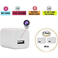 Hidden Camera USB Phone Charger, (2 Pack)- Wall Plugs...