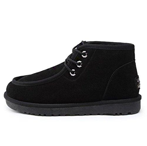 TT&XUEDIXUE Bottes de neige d'hiver pour hommes / chaud plus des bottes de velours / chaussures de coton pour hommes en Angleterre / courtes bottes d'hiver / café / kaki / noir black 95IG1juLh