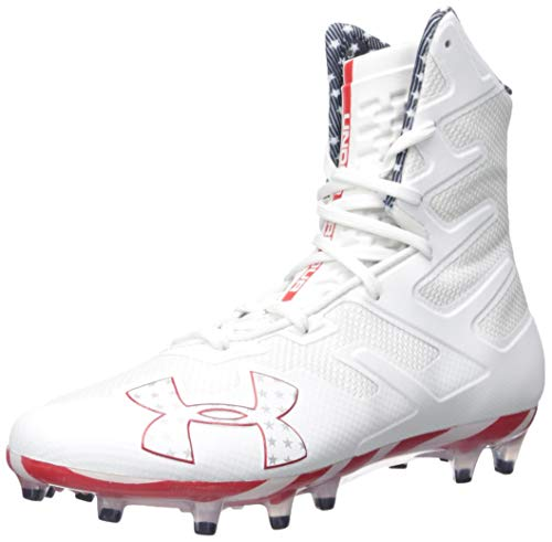 Under Armour Men's Highlight MC Limited Edition Lacrosse Shoe, White (103)/Red, 12.5