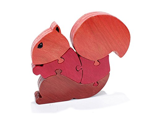 Squirrel Puzzle and Room Decor in Red