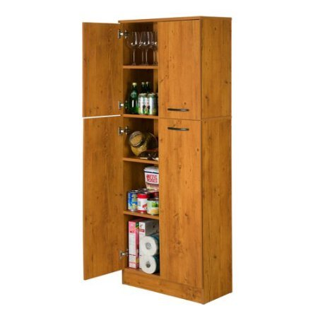 Smart Four Door Storage Pantry, Elegant and Practical Food Storage Pantry, Perfect Fit for Your Needs, Ideal for Putting Away Food as Well as Kitchen Accessories, Country Pine + Expert Guide by eCom Rocket