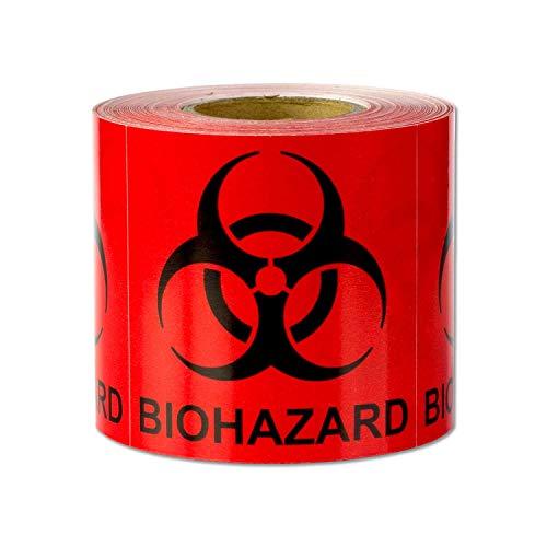 (Biohazard Warning Labels Self Adhesive Stickers (Red Black / 2